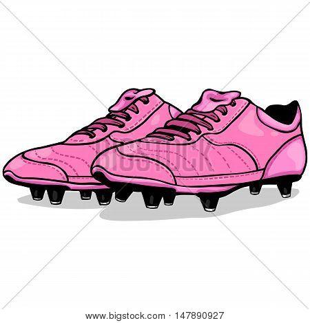 Vector Cartoon Pink Soccer Boots