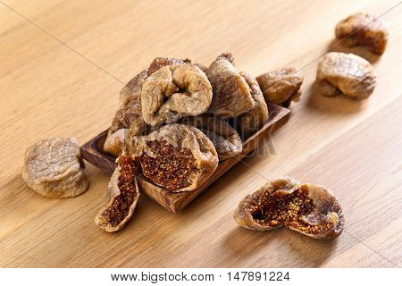 Dried Figs In Wooden Dish