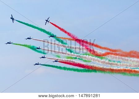 Amous Italian Flying Team Frecce Tricolori In Action During An Exhibition