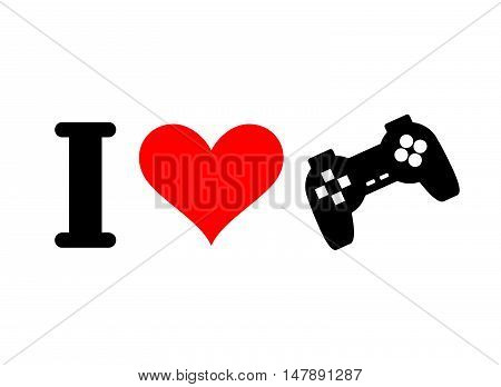 I Love Games. Heart And Gamepad. Logo For Players In Console. Pc Joystick. I Like Play Computer