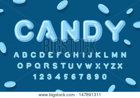 Candy Font. Abc Of Caramel. Sweet Alphabet. Blue Letters. Lollipops Lettring