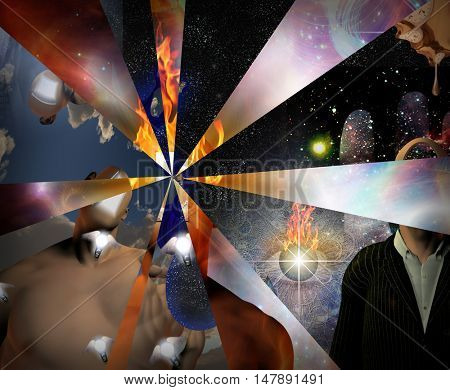 Symbolic abstract painting.  3D Render  Some elements provided courtesy of NASA