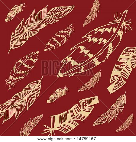 Hand drawn feather illustration in retro colors