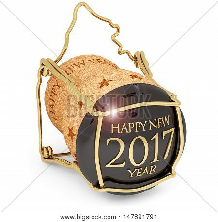 new year's 2017 champagne cork isolated on white