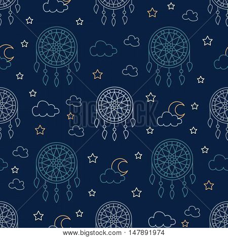 Seamless pattern with dream catchers. Elements - dreamcatcher star moon. Vector illustration. Cute repeated texture with dream catchers for packaging book textile. Wrapping paper design.