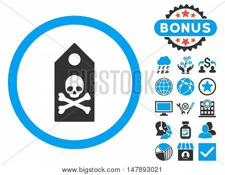 Death Mark icon with bonus pictogram. Glyph illustration style is flat iconic bicolor symbols, blue and gray colors, white background.