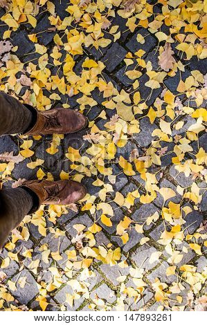 Legs of unrecognizable person in winter boots. Colorful autumn leaves on old cobblestone pavement