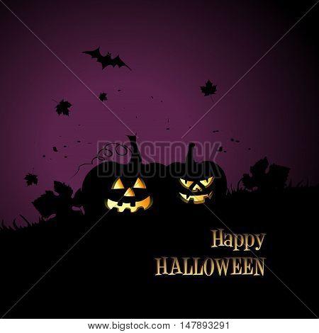 Happy Halloween background with sinister pumpkins. Vector illustration for celebration