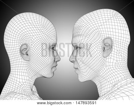 Concept or conceptual 3D illustration wireframe or mesh human male and female head on gray background