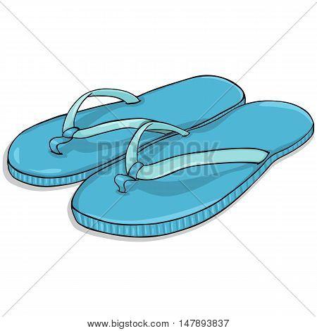 Vector Cartoon Blue Beach Slippers