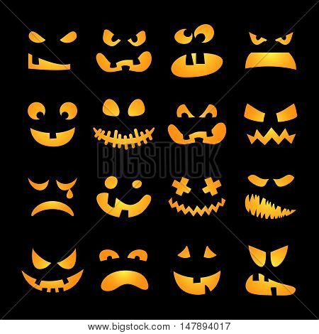 Scary Halloween pumpkin faces set. Horror, terrible, awful, shining emotions on black background . Vector illustration
