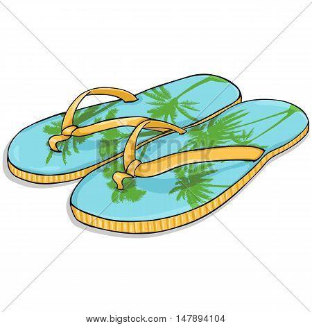 Vector Cartoon Blue-yellow Beach Slippers