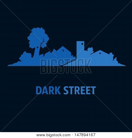 Illustration of street with cottages and trees at night. Silhouettes.