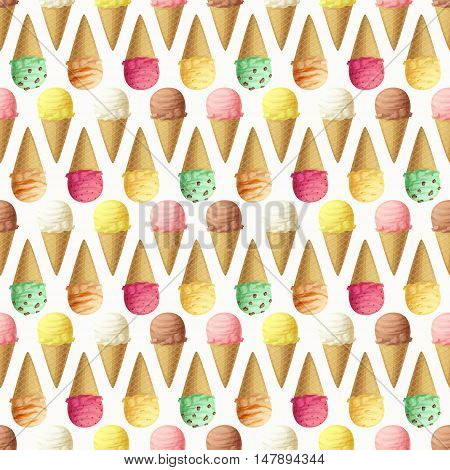 Ice cream scoops and cones seamless pattern. Vector illustration