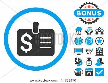 Dollar Badge icon with bonus pictures. Glyph illustration style is flat iconic bicolor symbols, blue and gray colors, white background.