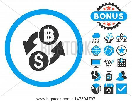 Dollar Baht Exchange icon with bonus pictogram. Glyph illustration style is flat iconic bicolor symbols, blue and gray colors, white background.