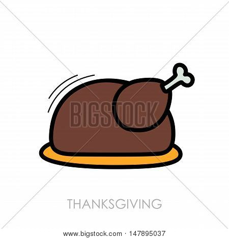 Roasted chicken or Turkey ready for Thanksgiving. Vector icon or sign.