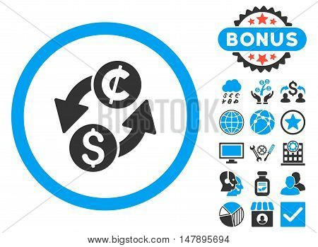 Dollar Cent Exchange icon with bonus images. Glyph illustration style is flat iconic bicolor symbols, blue and gray colors, white background.