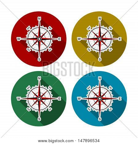 Compass icon. Compass icon art, four set
