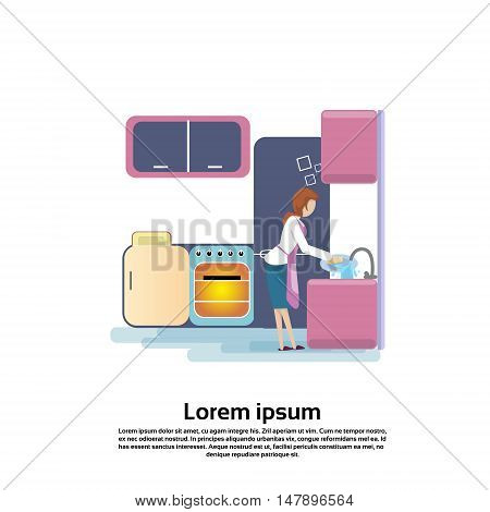 Young Woman Wash Dishes In Kitchen Sink Flat Vector Illustration