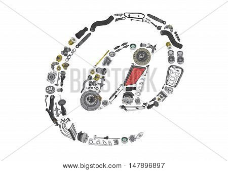 Dogbody or email icone with auto spare parts for car