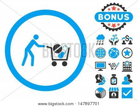 Drugs Shopping Cart icon with bonus pictogram. Glyph illustration style is flat iconic bicolor symbols, blue and gray colors, white background.