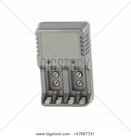 Gray compact charger isolated on white closeup