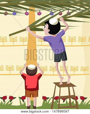 jewish boy building tabernacle - colorful vector cartoon illustration
