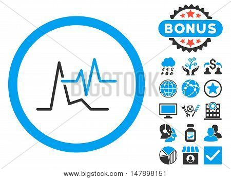 ECG icon with bonus design elements. Glyph illustration style is flat iconic bicolor symbols, blue and gray colors, white background.