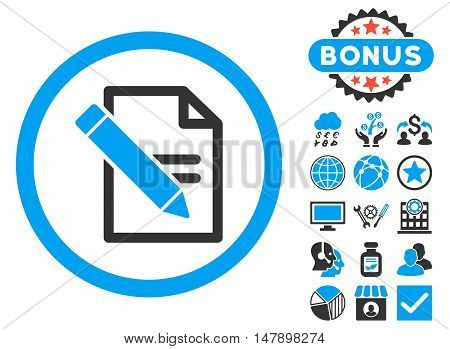 Edit Records icon with bonus pictures. Glyph illustration style is flat iconic bicolor symbols, blue and gray colors, white background.