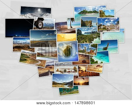 Collage of travel photos with tropical nature and moutains located in shape of heart