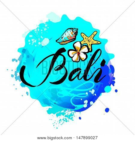 Welcome to Bali concept in vintage graphic style for t-shirt and other print production on white background, vector illustration