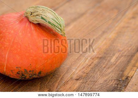 Detail of Hokkaido Pumpkin on wooden background