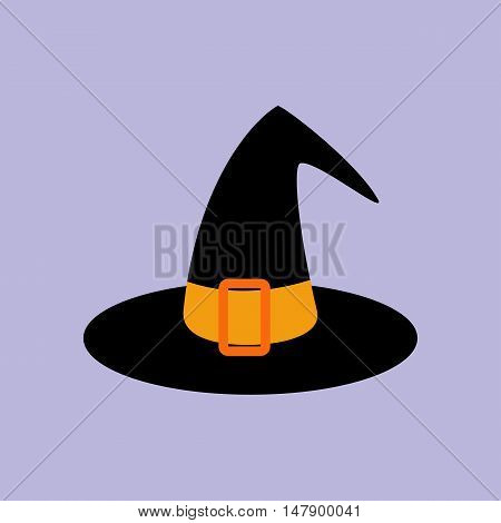 Witch hat illustration on the purple background. Vector illustration