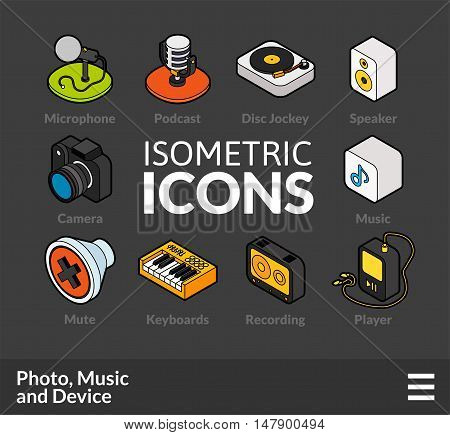 Isometric outline icons, 3D pictograms vector set 6 - Photo music and device symbol collection