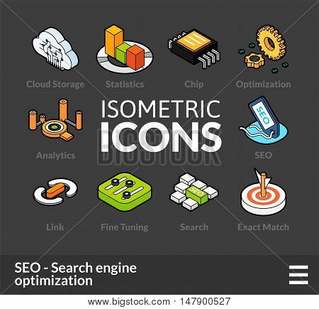 Isometric outline icons, 3D pictograms vector set 7 - Search engine optimization symbol collection
