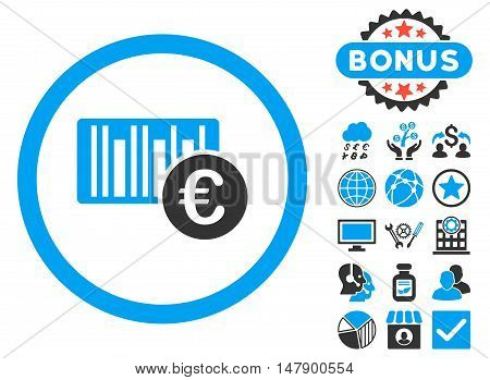 Euro Barcode icon with bonus pictures. Glyph illustration style is flat iconic bicolor symbols, blue and gray colors, white background.