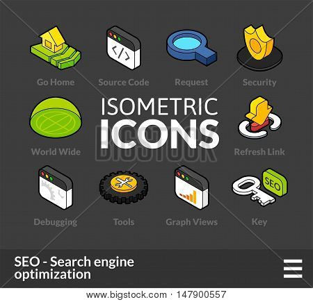 Isometric outline icons, 3D pictograms vector set 8 - Search engine optimization symbol collection