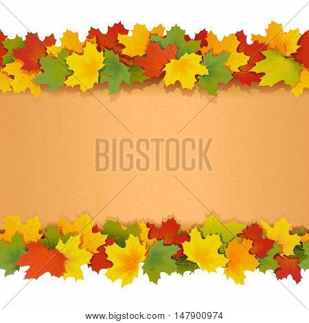 Vector Paper Border with Maple Leaves isolated on white background