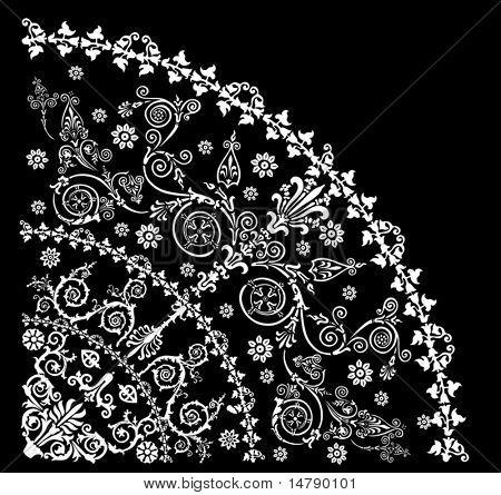 illustration with white decoration on black background