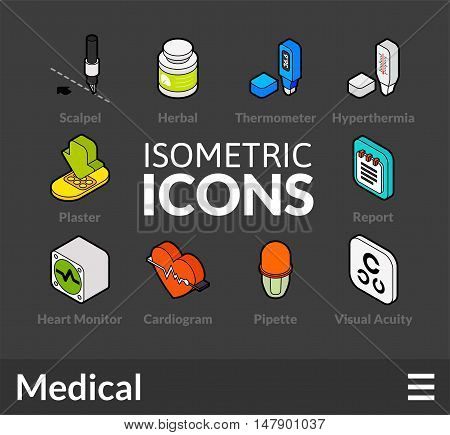 Isometric outline icons, 3D pictograms vector set 18 - Medical symbol collection