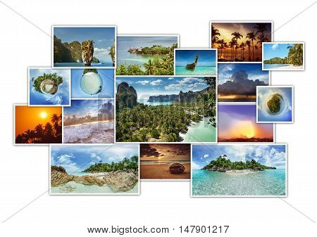 Photo album concept with tropic photos collage