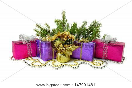 Gift boxes under the Christmas tree golden beads and flowers composition isolated on a white background.