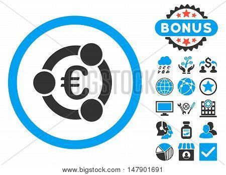 Euro Collaboration icon with bonus symbols. Glyph illustration style is flat iconic bicolor symbols, blue and gray colors, white background.