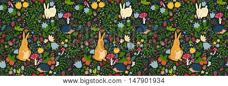 Cute animals on magic forest seamless pattern. Rabbit and hedgehog vector illustrations for baby. Background for kids hand-drawn style. Site header. Rectangular composition banner.