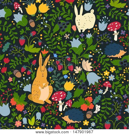 Cute animals on magic forest seamless pattern. Rabbit and hedgehog vector illustrations for baby. on a dark background. Hand-drawn style square composition