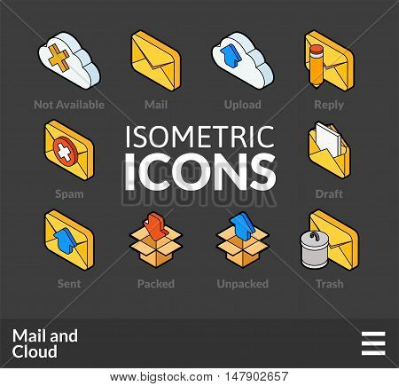 Isometric outline icons, 3D pictograms vector set 29 - Mail and cloud symbol collection