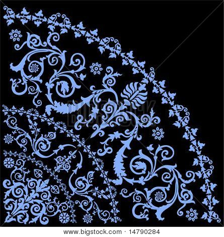 illustration with blue curled quadrant ornament