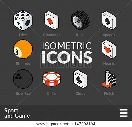 Isometric outline icons, 3D pictograms vector set 45 - Sport and game symbol collection