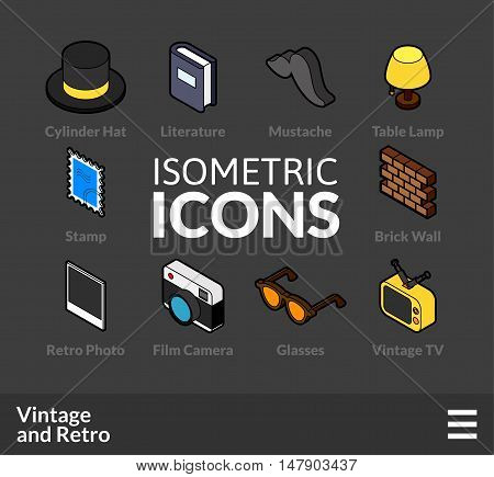 Isometric outline icons, 3D pictograms vector set 49 - Vintage and retro symbol collection